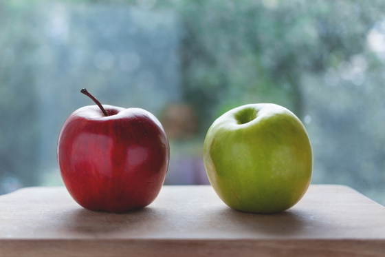 A red and green apple. Great eye spy game for a rainy day.